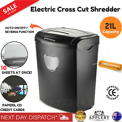 21L Electric Paper Shredder Cross Cut Home Office 10 A4 Sheets Credit Cards CD