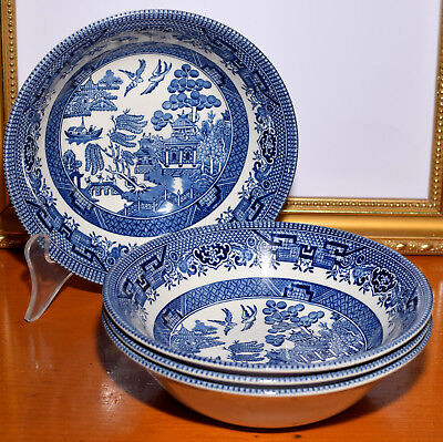 4 x Vintage Churchill Blue Willow Cereal Bowls 15cm England
