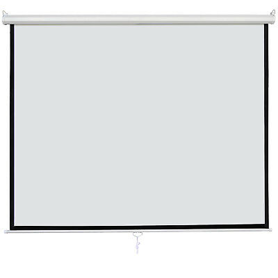 """120"""" 1:1 Manual Pull Down Projection Screen Matte White Home HD Movie Theater"""