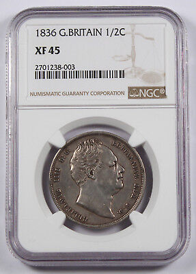 GREAT BRITAIN UK 1836 Silver Half (1/2) CROWN Coin XF45 NGC KM# 714.2 William IV