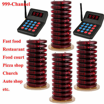 2 Restaurant Wireless Paging Queuing System+40X Call Coaster Pager for auto shop