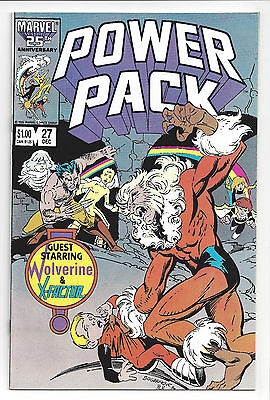 1986 Marvel Comics Power Pack #27 VF with Wolverine Sabretooth and X-Factor