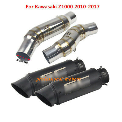 Slip on Z1000 2010-2017 Exhaust Muffler Tips Connect Link Pipe Exhaust System