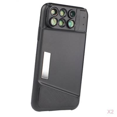 2 X 6 in 1 Dual Optics Lens Kit Protect Case for iPhone X, Macro, Wide-angle