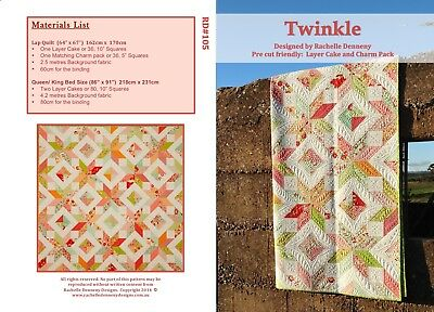 Twinkle Quilt Pattern. Suitable Layer Cake Quilt.