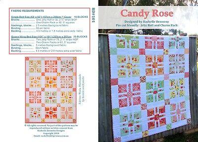 Candy Rose Quilt Pattern. Suitable Jelly Roll Quilt.