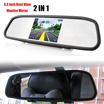 "4.3"" TFT LCD Car Rear View Mirror Reverse Monitor 2 In 1 For Camera Kit DVD VCR"