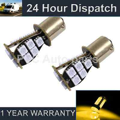 2X 581 Bau15S Py21W Xenon Amber 18 Smd Led Front Indicator Light Bulbs Fi201404