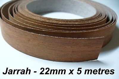Iron-On Melamine Veneer Edging Tape - JARRAH - 22mm x 5 metres - Pre Glued