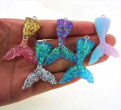 10PC Fish Scale Mermaid Tail Pendant For Bracelet/Necklace/Ring Jewelry Gift