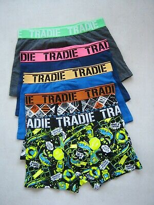 5 x  MEN'S TRADIE COTTON STRETCH TRUNK SOLID COLOURS