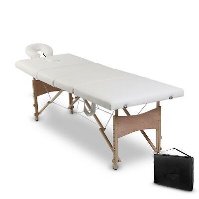 Portable Wooden 4 Fold Massage Table Bed Chair Body Therapy Waxing 62cm White