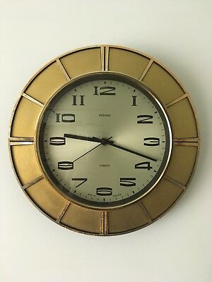 Retro Vintage Sunburst/ Starburst 60s/70s Metamec Wall Clock - Gold Coloured
