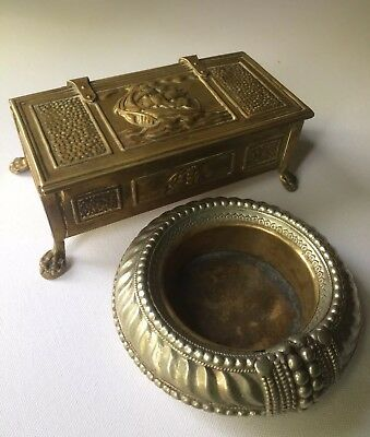 Vintage Brass /bronze Ashtray And England Bronze Box Vintage