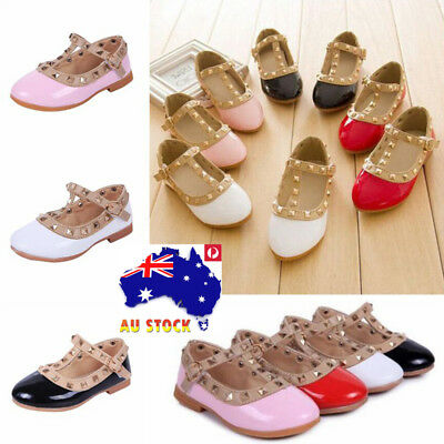 AU Girls Princess Sandals Rivet Flats Kids Childs T-Strap Buckle Ballet Shoes
