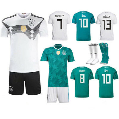 2018 Kid Boys Kit Soccer Short Sleeve Club Suit Football Youth Team Outfit+Socks