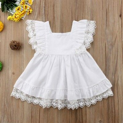 Newborn Baby Girl Clothes White Lace Dresses Baby Outfit Party Princess Dress AU