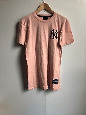 Majestic MLB New York Yankees Longline T-Shirt - Small - Pink - New