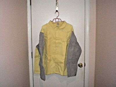 ORR SAFETY Welding Jacket with Leather Sleeves - -XXLarge--2XL.  Free Shipping.