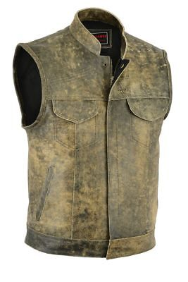 Men Distressed Real Leather Son Of Anarchy Motorcycle Waistcoat - Brown Vest