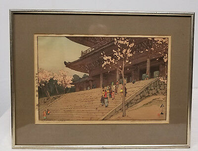 Antique Japanese Hiroshi Yoshida Woodblock Signed Chion-in Temple Gate