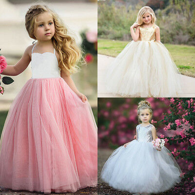 UK Stock Kid Girl Flower Princess Formal Party Wedding Bridesmaid Gown Dress Set