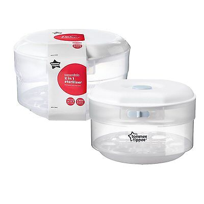 Tommee Tippee Essentials Compact Microwave Steriliser 4 Bottles Travel Baby Home