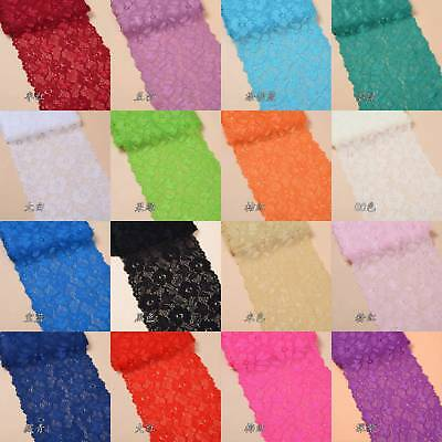16cm Width 1yards Flower Stretch Lace Trim Ribbon Sewing Dress Skirt Handicrafts