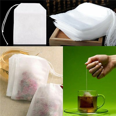 100X Non-woven Empty Teabags String Heat Seal Filter Paper Loose Herbs Tea Bags