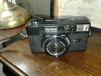 Konica C35 AF2, Auto-focus film camera, Hexanon F2.8 38 mm lens.Made in Japan