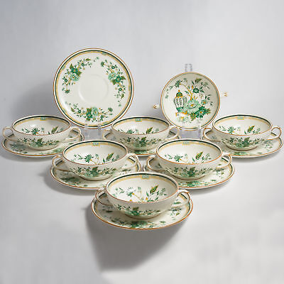 Crown Staffordshire KOWLOON SOUP Cups & Saucers Seven (7)