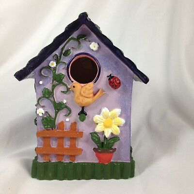 Decorative Hand Painted Miniature Bird House with Floral and Bird Design