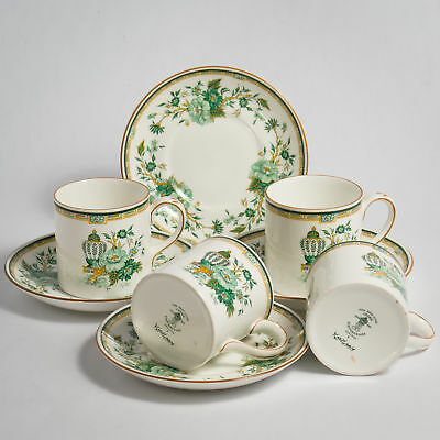 Crown Staffordshire KOWLOON COFFEE Cups & Saucers Four 4 Cans