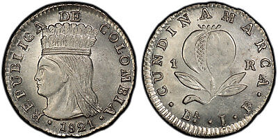 COLOMBIA. 1821 Ba JF AR Real. NGC MS63+ KM B9; Restrepo-152.1. Rare quality.
