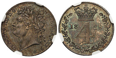 GT BRIT. George IV. 1829 AR Fourpence, Groat. NGC MS65. KM 686. Toned.