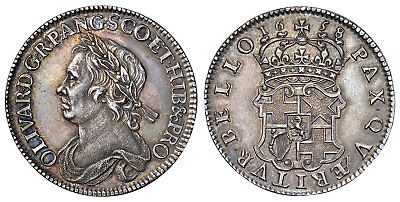 GT BRIT.  1658 AR Halfcrown. NGC AU58. Oliver Cromwell SCBC-3227A, North-2746