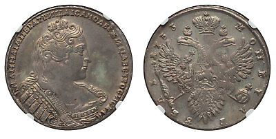 RUSSIA. Anna. 1733 AR Rouble. NGC AU55 Dav.-1670. Attractively toned.