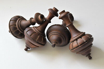 lot of 4 Antique French Turned Carved Wooden Finial,furniture,stairway 19th C