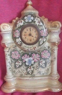 ANTIQUE CLOCK Impressive Porcelain case, Hand Painted & Gilded. Lovely condition
