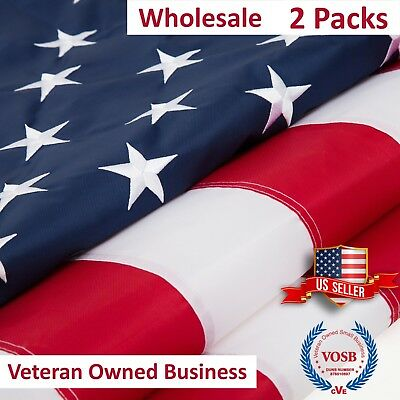 2x3 Ft USA American Flag 2 Packs Embroidered Stars Sewn Stripes Grommets Nylon