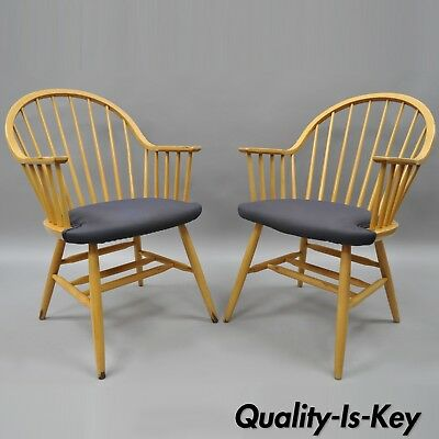Spindle Back Windsor Style Wooden Dining Kitchen Chairs by Loewenstein A Pair