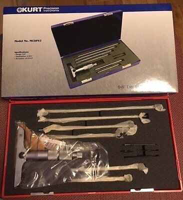 "KURT MCDP62 0-6""  0.001"" DEPTH MICROMETER with 4"" Base in Hard Plastic Case KURT"