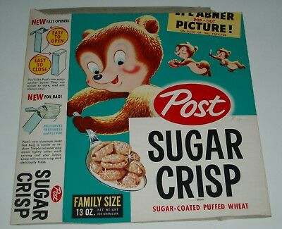 1950's Post Sugar Crisp Cereal Box w/ Lil Abner cut out back (sugar bears)