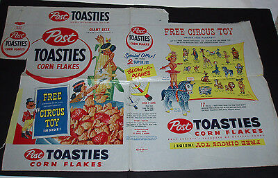 1950's Post Toasties Cereal Box w/ Ringling Bros Circus Toy offer
