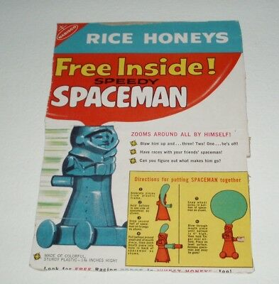 1960's Nabisco Rice Honey cereal box back w/ Speedy Spaceman cereal premium offe