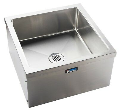 """Krowne Metal MS-2424 24""""Wx24""""D Stainless Steel Mop Sink w/ Removable Front Panel"""
