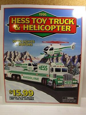 HESS 1995 SIGN FOR THE HELICOPTER & TRUCK - 15 x 18 inch (385