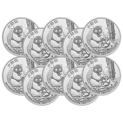 Lot of 10 x 1 oz 2017 Niue Silver Gold Bull Exclusive Panda Silver Coin
