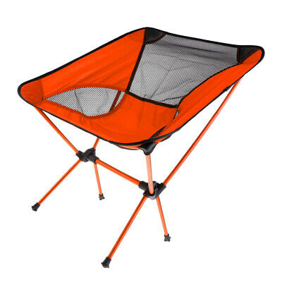 Ultralight Foldable Camping Chair Outdoor BBQ Fishing Seat Lounger Orange