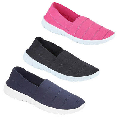New Ladies Slip On Trainers Flat Comfy Fitness Gym Women Pumps Shoes Size Uk 3-8